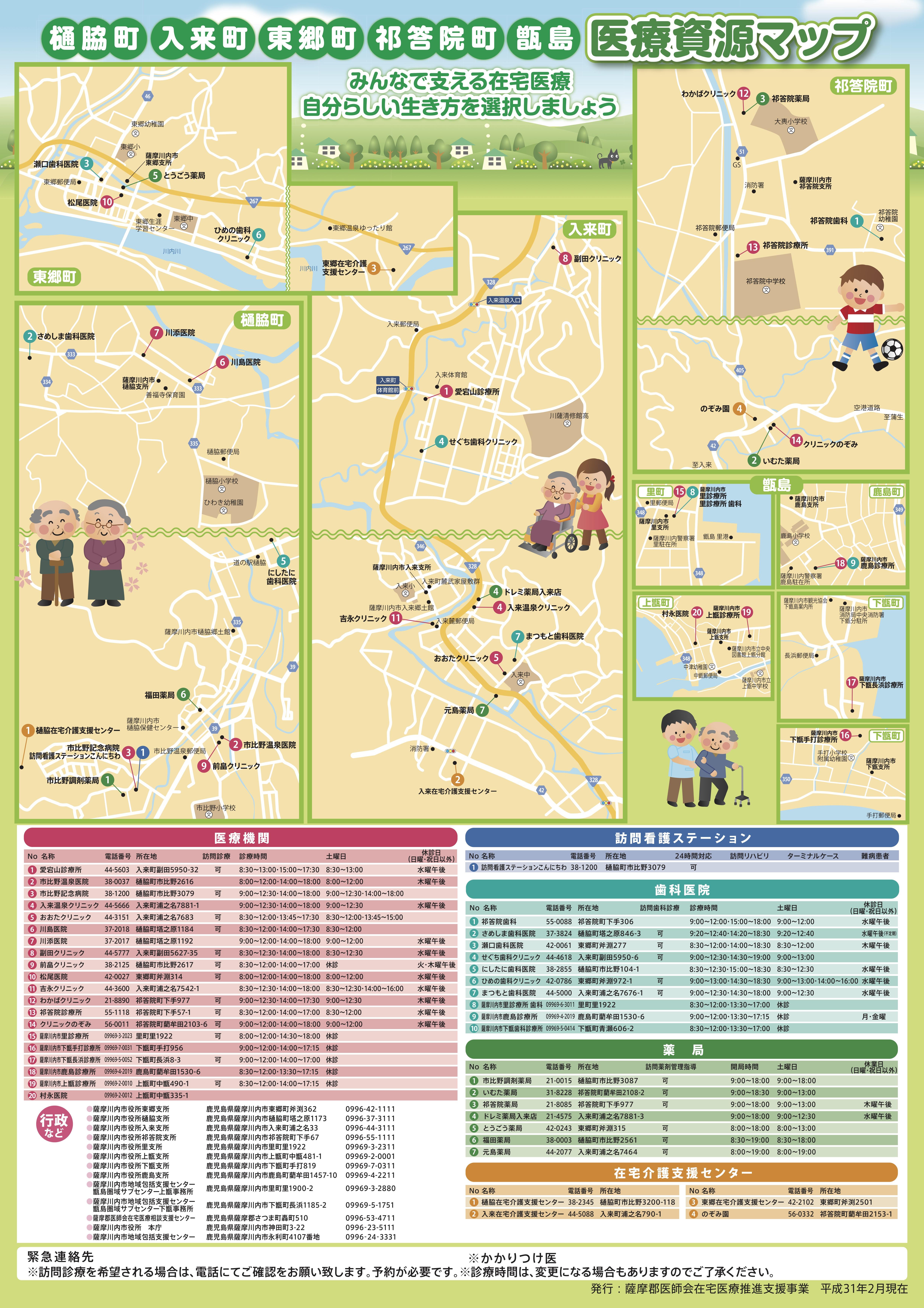 樋脇町・入来町・東郷町・祁答院町医療資源マップ